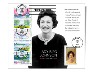 Celebrate the legacy left by a beloved First Lady with this full sheet of six Lady Bird Johnson (Forever®) stamps cancelled by four black postmarks. Click for more info.