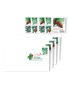 Although they may no longer be in Post Offices, you can still buy the Holiday Evergreens stamps from The Postal Store as part of the Holiday Evergreen Digital Color Postmark Keepsake set. Click the image for more info.