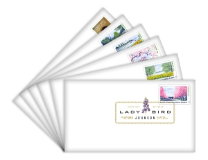 This set of six First Day Covers features a a different affixed Lady Bird Johnson (Forever®) stamp and a First Day of Issue color postmark. Click image for more info.